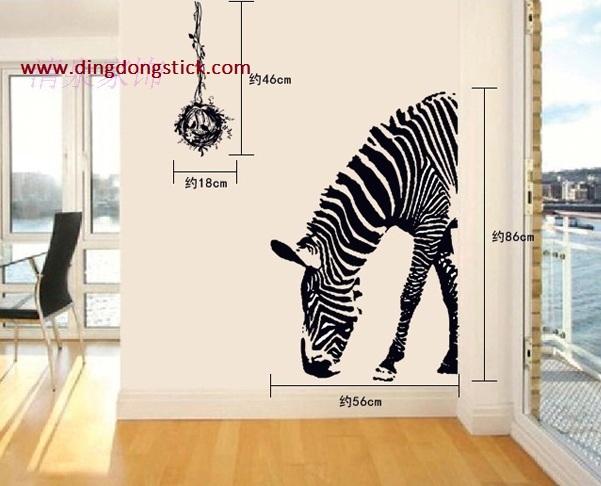"""สติ๊กเกอร์ติดผนัง กราฟฟิค """"ม้าลาย Zebra 2"""" ความสูง 120 cm ความกว้าง 80 cm"""