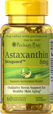 ต้านอนุมูลอิสระ Puritan's Pride Natural Astaxanthin 5 mg 60 Softgels