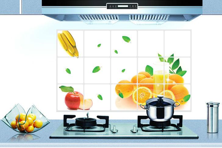 """สติ๊กเกอร์ติดครัว กันน้ำมันกระเด็น อลูมิเนียม """"Orange"""" ขนาด 45cm x 75cm"""