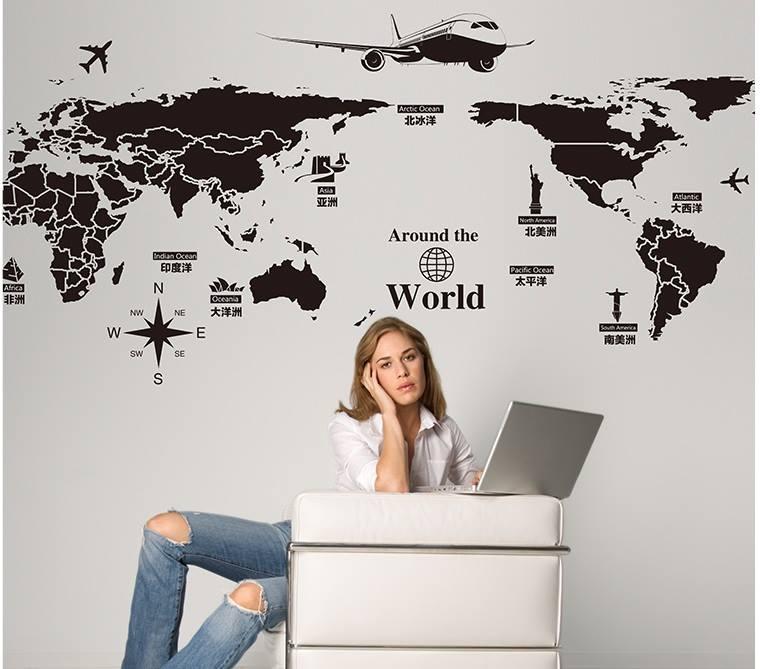 """สติ๊กเกอร์ติดผนังตกแต่งห้อง """"แผนที่โลก Around the World สีดำ"""" ความสูง 70 cm กว้าง 130 cm"""