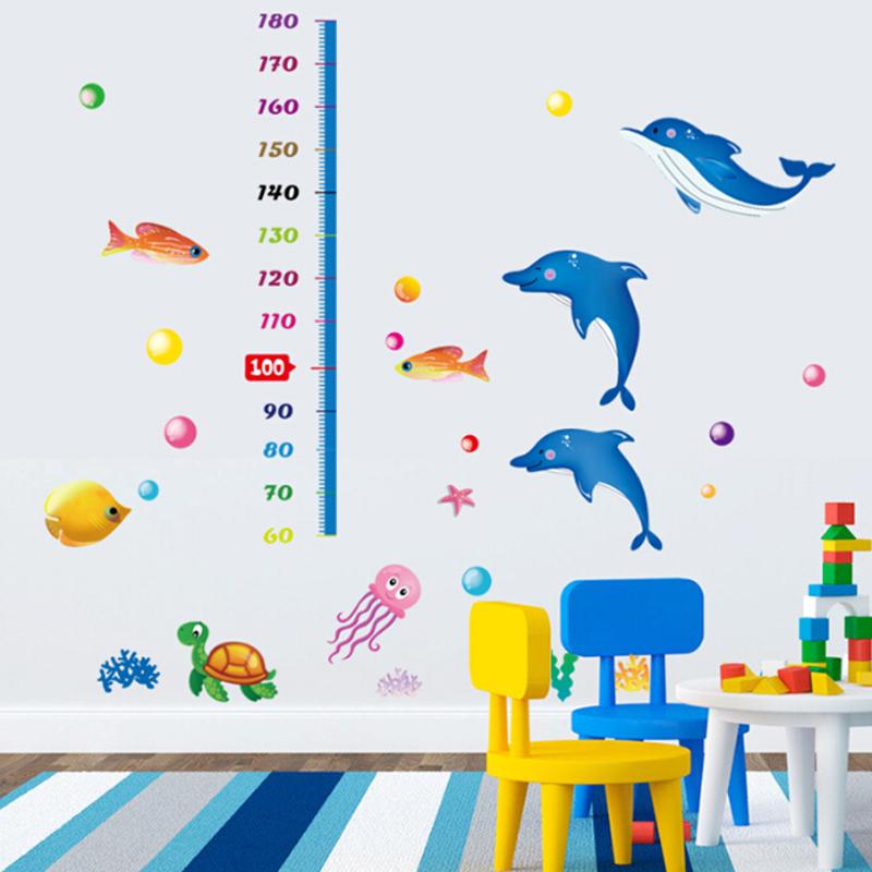 """สติ๊กเกอร์ติดผนังตกแต่งห้องเด็ก ที่วัดส่วนสูง """"Cute dolphin and Growth Chart"""" สเกลเริ่มต้น 60cm ถึง 180 cm"""