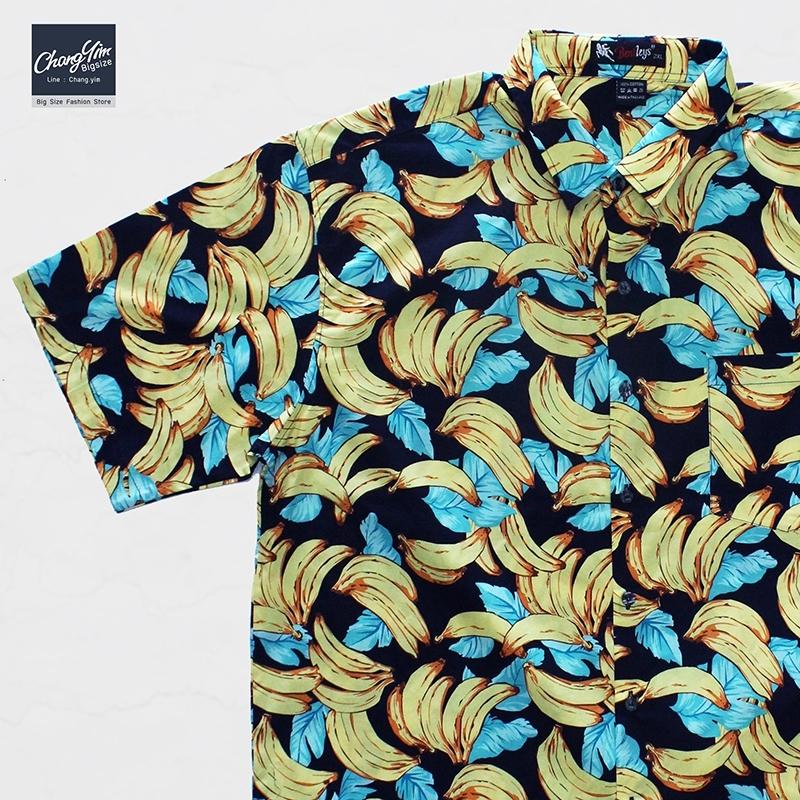เสื้อเชิ๊ตแขนสั้น ลายกล้วยไม้ สีกรม 2XL , 3XL