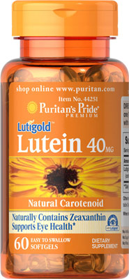 ช่วยการมองเห็น Puritan's Pride Lutein 40 mg with Zeaxanthin / 60 softgels
