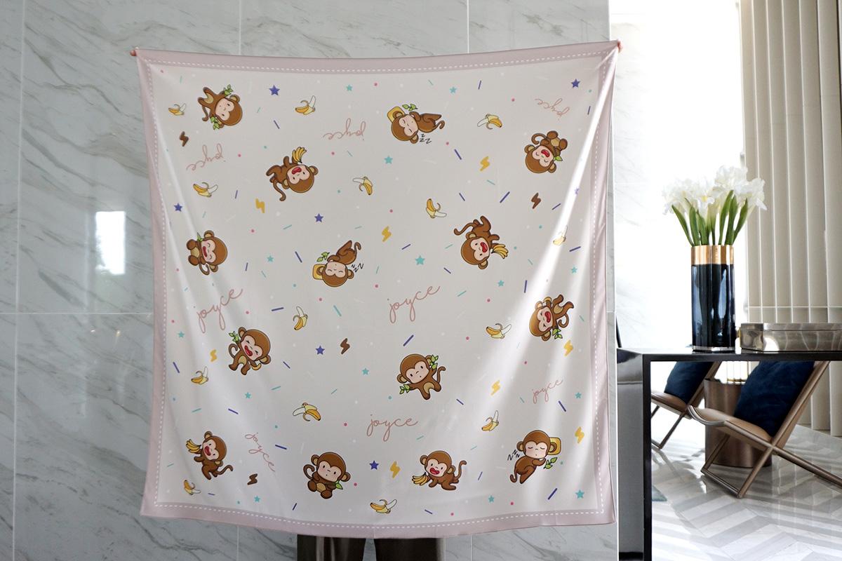 ผ้าพันคอ ลายลิง สีน้ำตาล - Monkey - Brown - สั่งทำใส่ชื่อ
