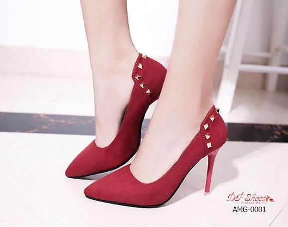 รองเท้าคัทชูส้นสูงแต่งมุก (สีแดง)