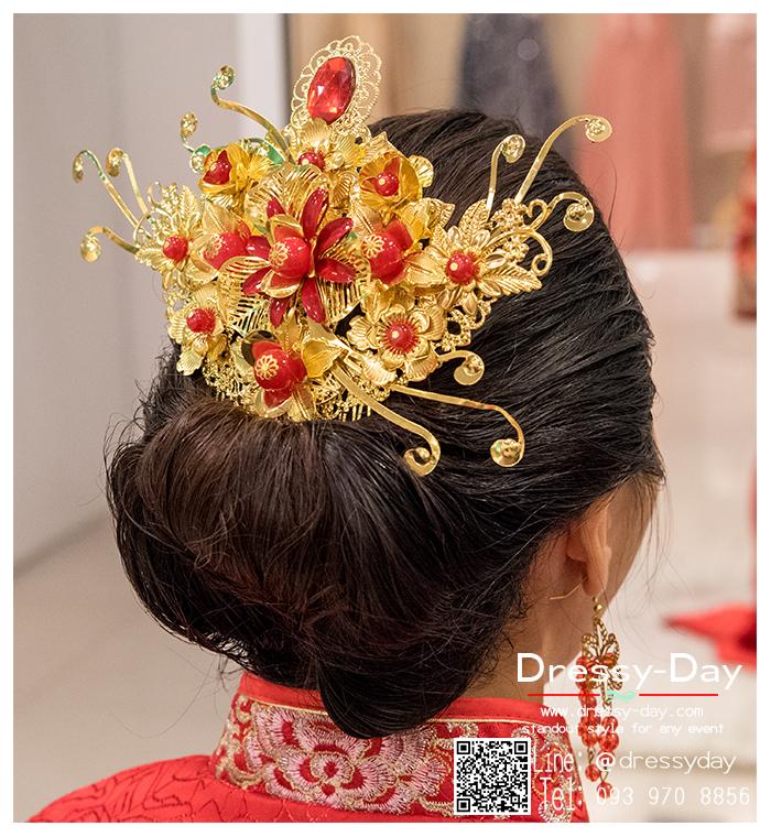 รหัส ปิ่นปักผมจีน : TR032 ขาย ปิ่นปักผมจีน พร้อมส่ง สีทอง เครื่องประดับผมจีน แบบโบราณ เหมาะมากสำหรับใส่ในพิธียกน้ำชา และงานแต่งงานธรรมเนียมจีน พิธีเสียบปิ่น คุณแม่เจ้าสาวจะติดปิ่นทองและทับทิมให้เจ้าสาว แทนคำอวยพร