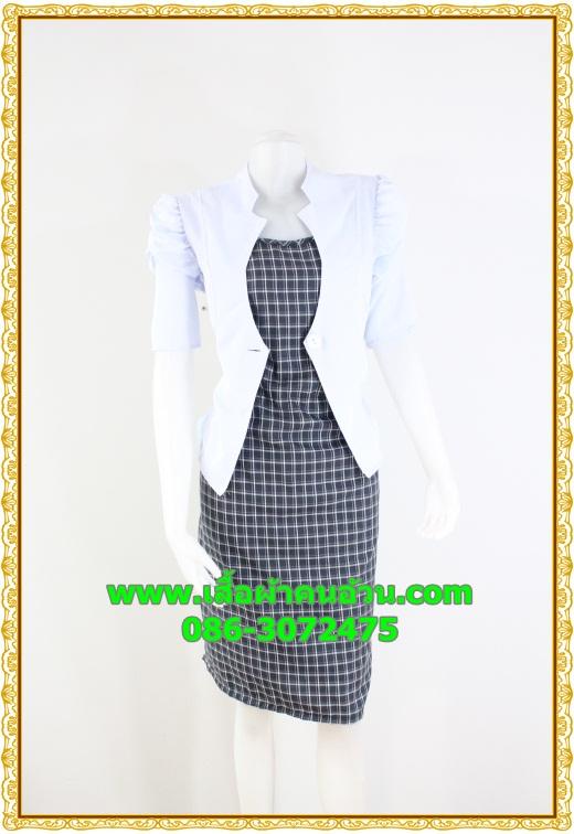 2564ชุดทํางาน เสื้อผ้าคนอ้วนแจ๊คเก็ตขาวคลุมด้านนอกคล้ายสวมทับเกาะอกด้านในสไตล์สาวมั่นใจ คล่องตัว โดดเด่นด้วยช่วงต้นแขนยกย่นด้านข้างทันสมัย
