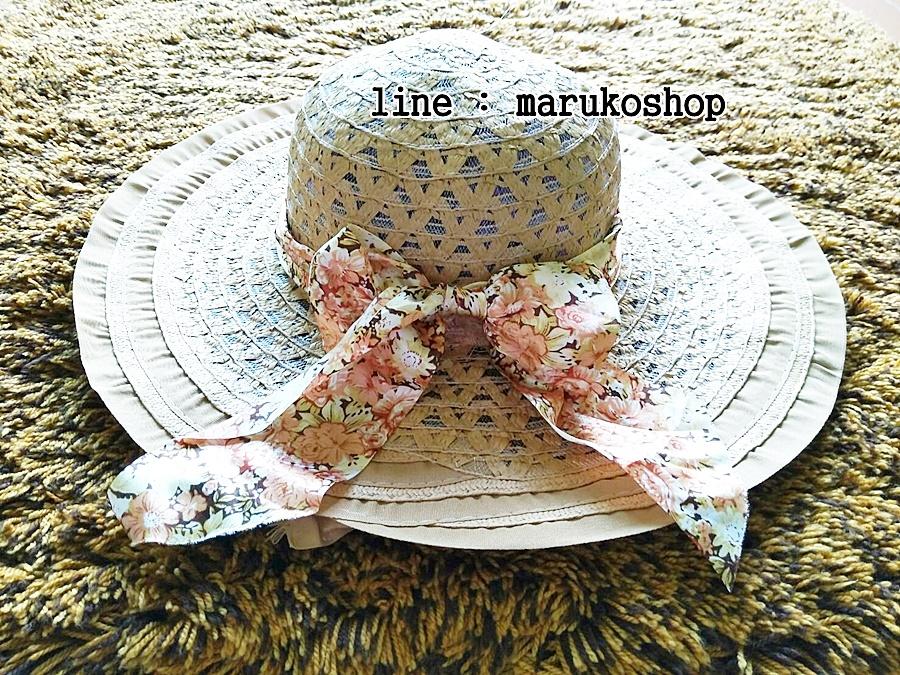 หมวกปีกกว้าง หมวกเที่ยวทะเล หมวกสานโทนน้ำตาล แต่งโบว์วินเทจรอบเก๋ ๆ รอบศรีษะ 56-58 cm