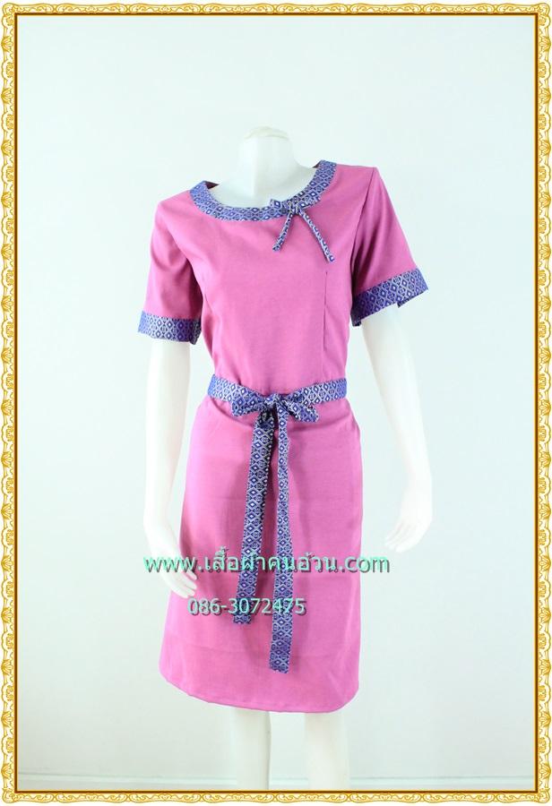 3152เดรสทำงาน เสื้อผ้าคนอ้วนสีกลีบบัวผ้าไหมเทียมแต่งลายไทยปลายแขนและคอแต่งคอสะดุดตา