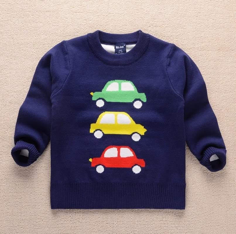 เสื้อกันหนาวไหมพรม ลายรถ