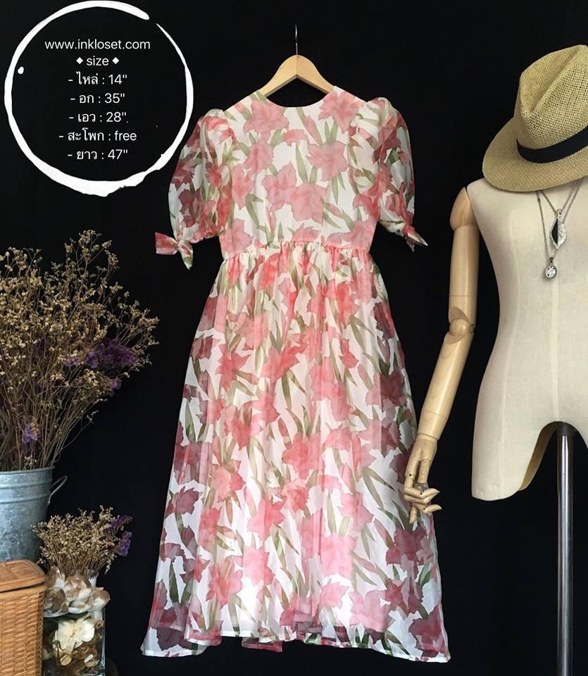 vintage dress :ออริจินอลวินเทจ ผ้าแก้วพิมพ์ลาย แพทเทิร์นเข้ารูป แต่งซิบหลัง พร้อมซับในเต็มตัว