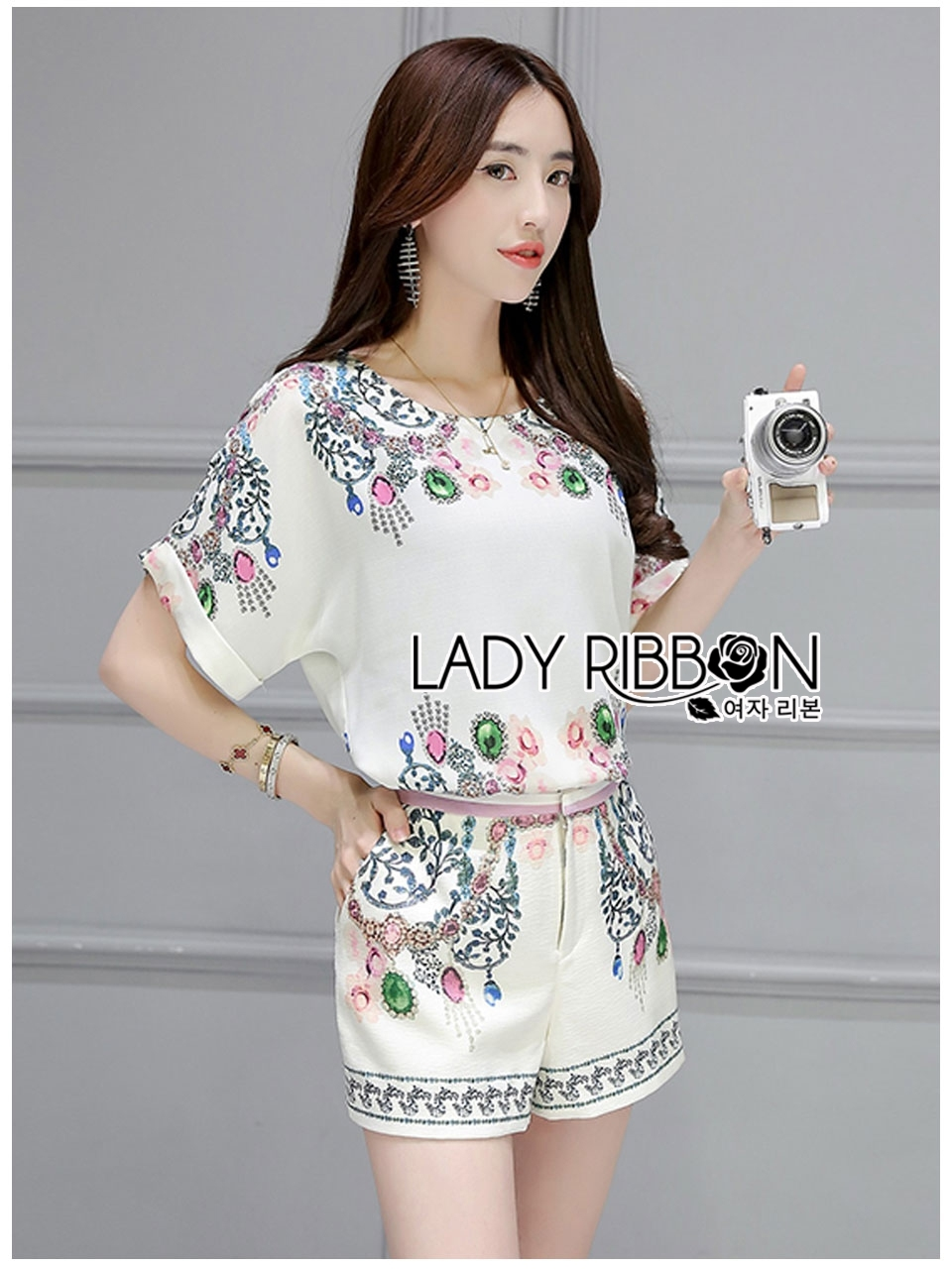 Lady Ribbon's Made Lady Sarah Pretty Bejewelled Printed Set
