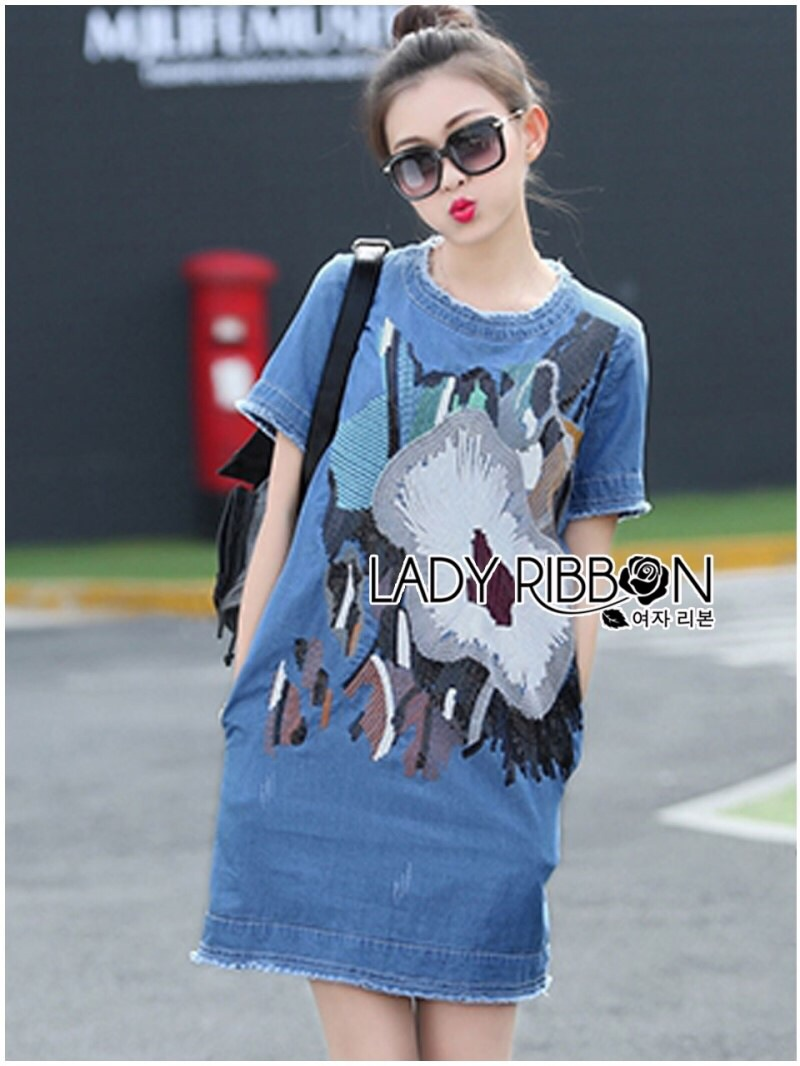 Lady Ribbon's Made Lady Sophie Sequin Embroidered Ripped Denim Dress
