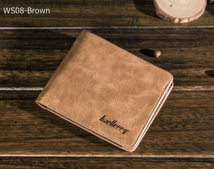 ( ลดล้างสต๊อค ) WS08-Brown กระเป๋าสตางค์ใบสั้น แนวนอน กระเป๋าสตางค์ผู้ชาย หนัง PU เกรดเอ สีน้ำตาล