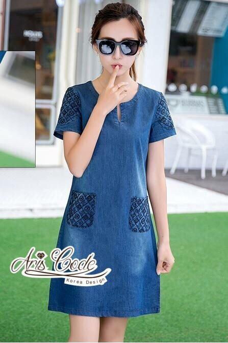 Korean lady love denim jeans short sleeve dress by Aris Code