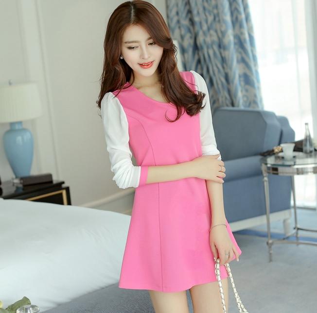V-4-L0143-ชมพู ชุุดเดรสทำงานสีชมพู แขนยาวเย็บผ้าสีขาว คอวี เอวเข้ารูป สวยน่ารัก