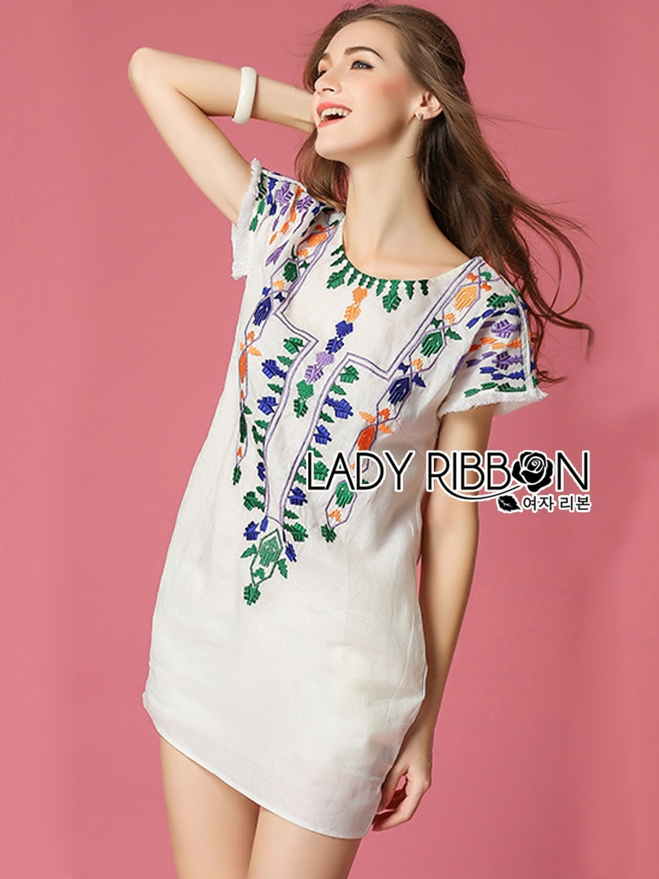 Lady Ribbon's Made Lady Sara Summery Casual Embroidered with Braid Mini Dress
