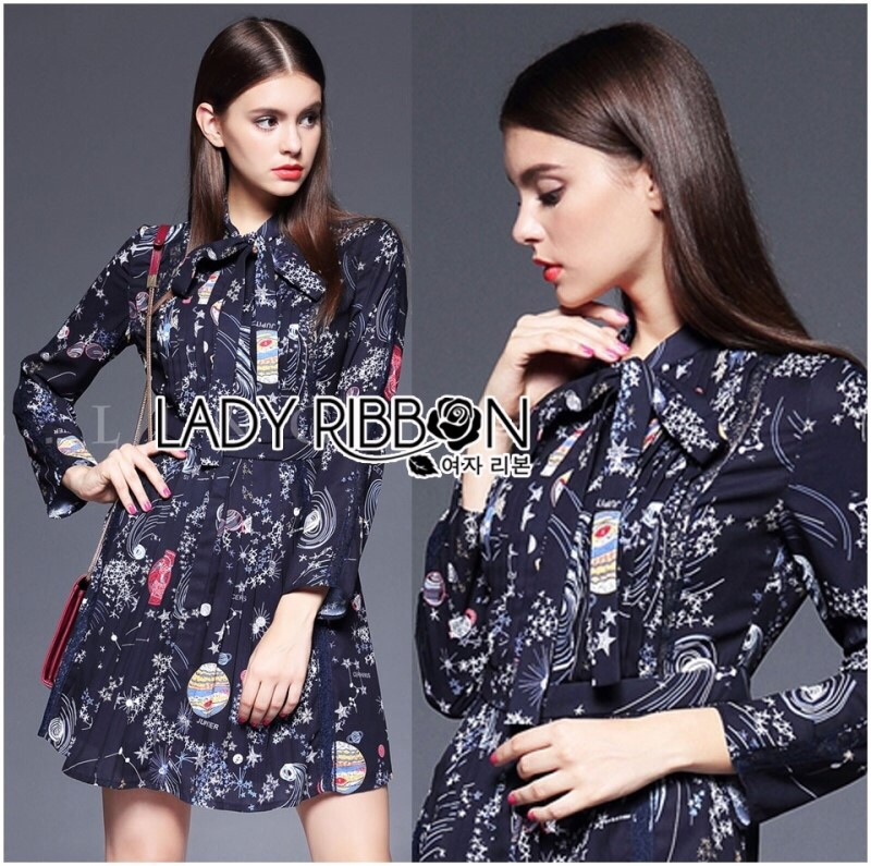 Lady Ribbon's Made Lady Caroline Funny Space Odyssey Printed Shirt Dress