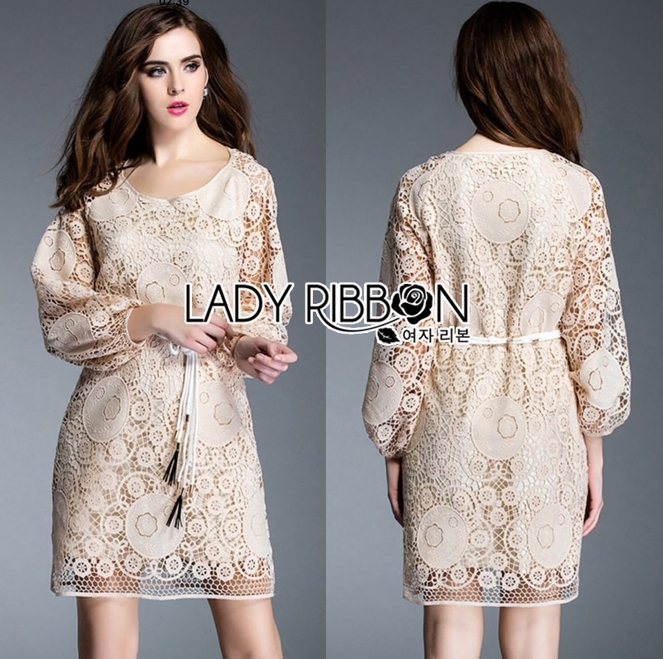 Lady Kate Elegant Chic Lace Dress with Belt