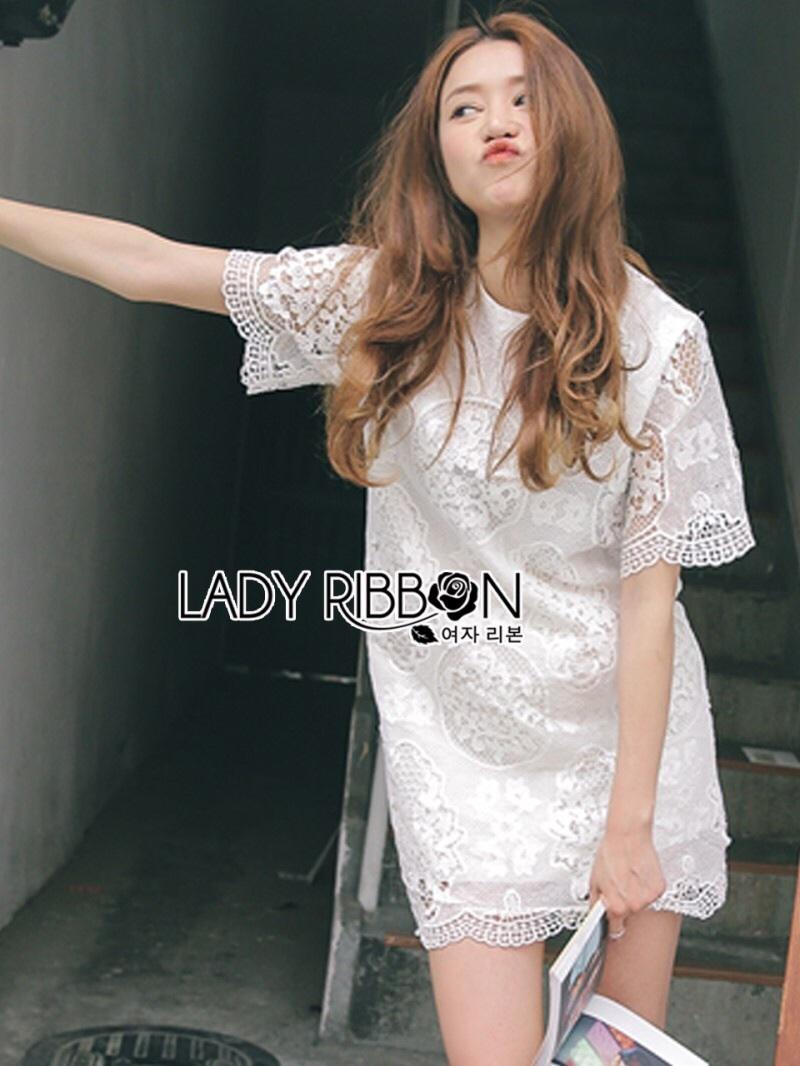 Lady Ribbon's Made Lady Amanda Classic White Bold Lace Dress