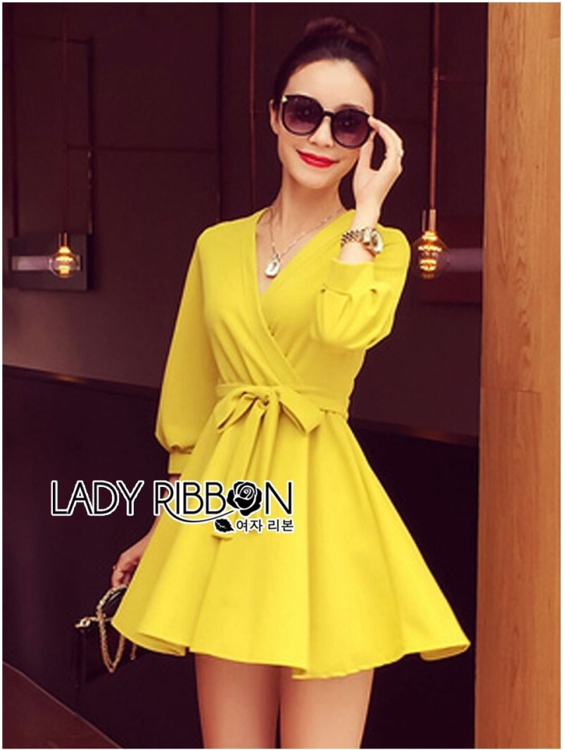 Lady Ribbon's Made Lady Stella Sexy Vivid Color Wrap Dress with Ribbon สีเหลือง