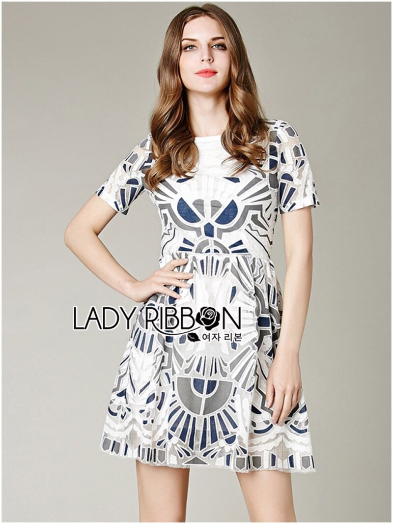 Lady Ribbon's Made Lady Bella Graphic Lace Embroidered Dress