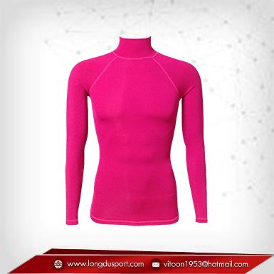 เสื้อรัดรูป Bodyfit แขนยาวคอตั้ง สีแดงอมชมพู mediumviolet