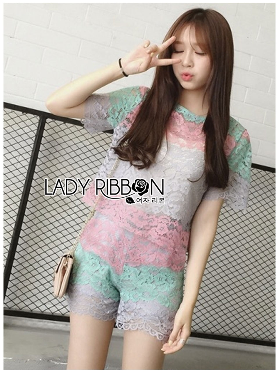 Lady Ribbon's Made Lady Rachel Rainbow Pastel Striped Lace Set