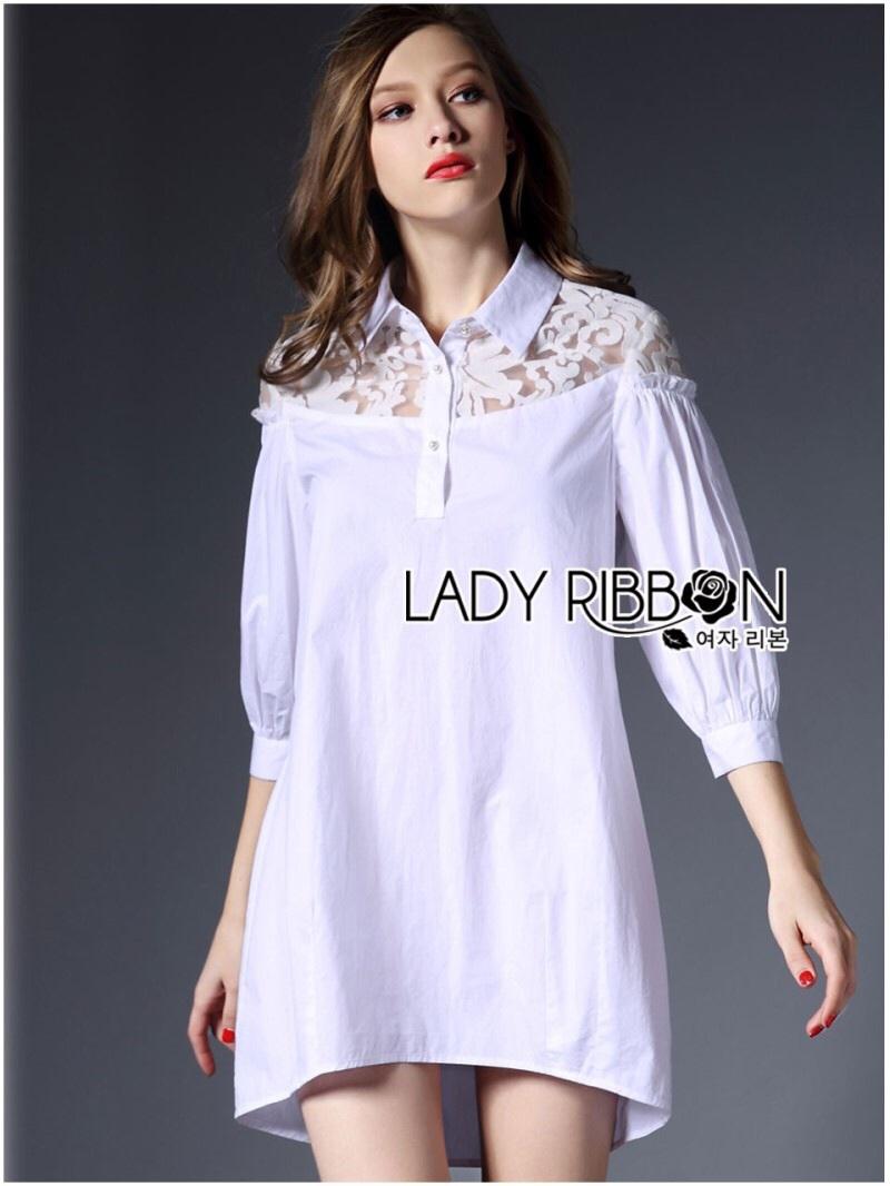 Lady Ribbon's Made Lady Serena Feminine Basic Cotton and Lace Shirt Dress