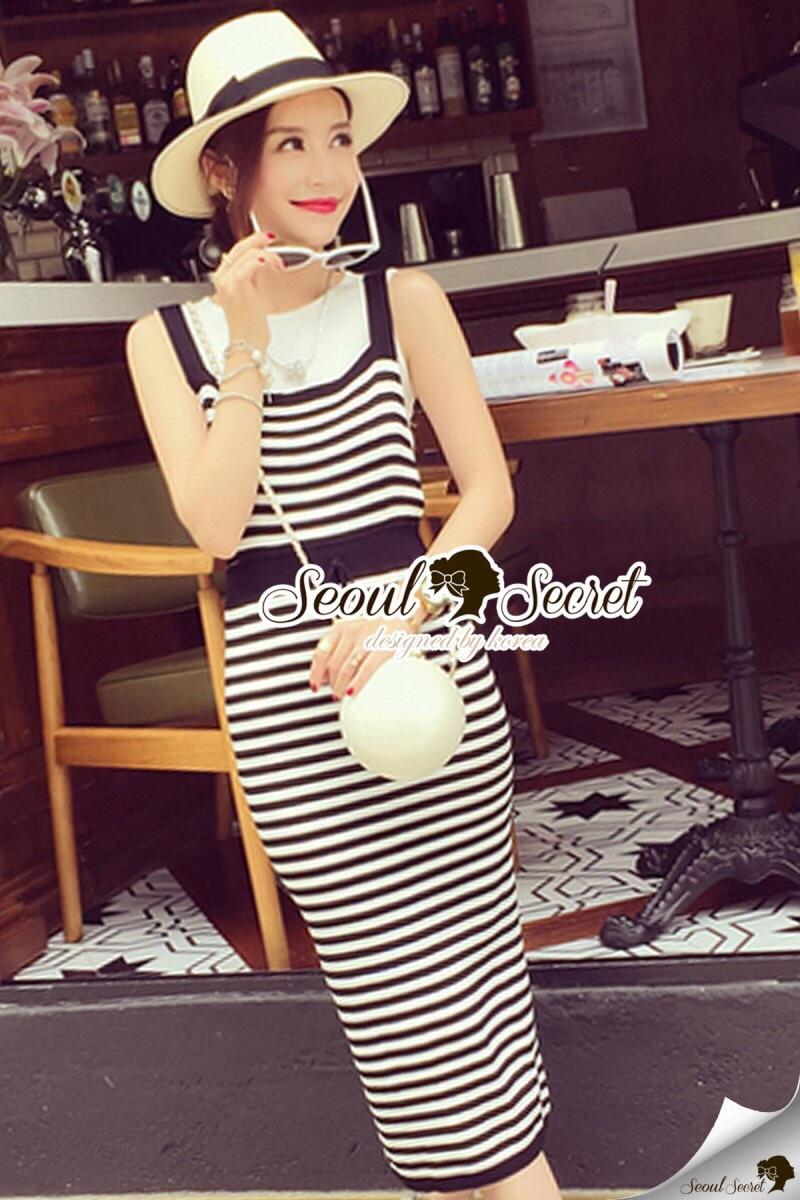 Seoul Secret Say's... Chic Stripy bib Dress สีดำ