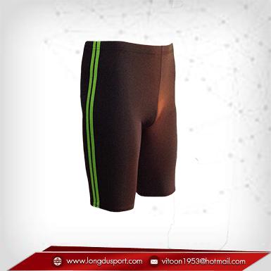 กางเกงรัดกล้ามเนื้อ ผ้าSpandex ขาสั้น สีน้ำตาล-แถบเขียว