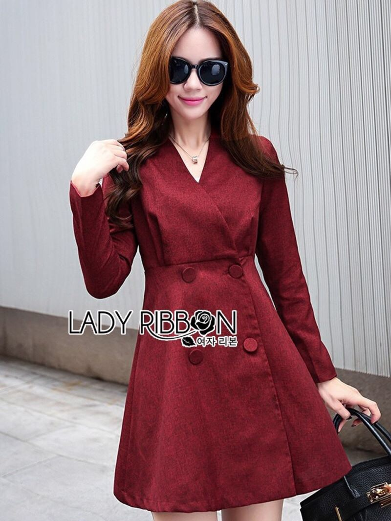 Lady Ribbon's Made Lady Samantha Smart Chic Double-Breasted Cotton Dress สีแดง