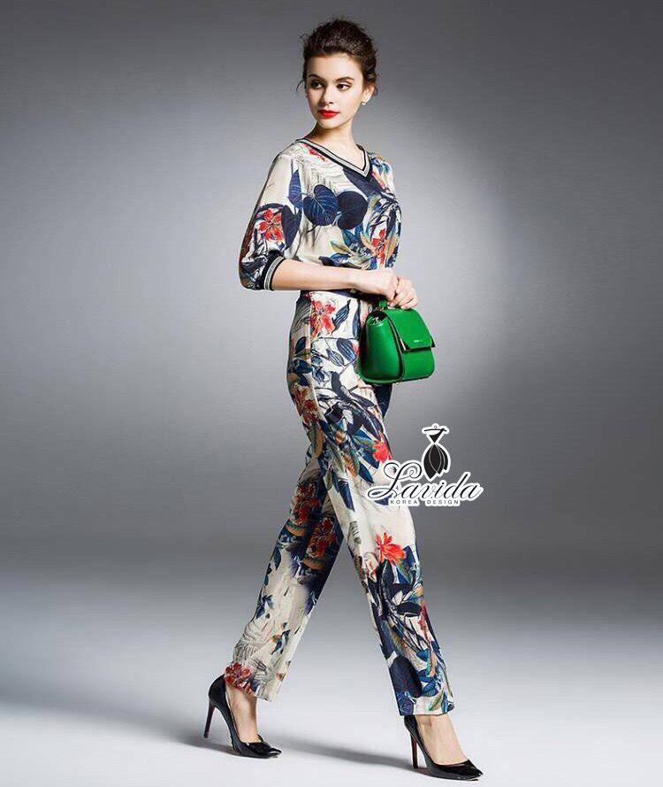 Korea Design By Lavida fashionable flower & leaf printed v neck top long pants set