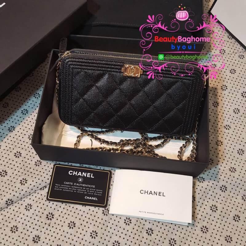 Chanel Boy Double Zipped Small Clutch สีดำ งานHiend Original