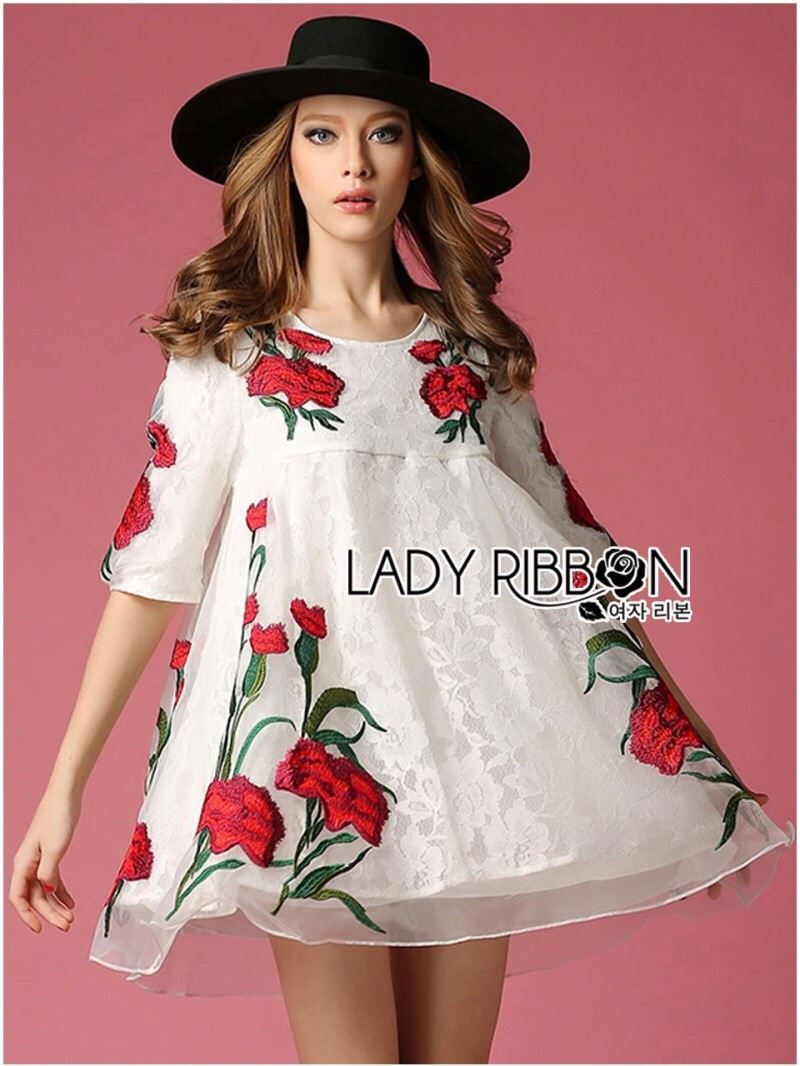 Lady Ribbon's Made Lady Renee Red Floral Embroidered Organza and Lace Dress