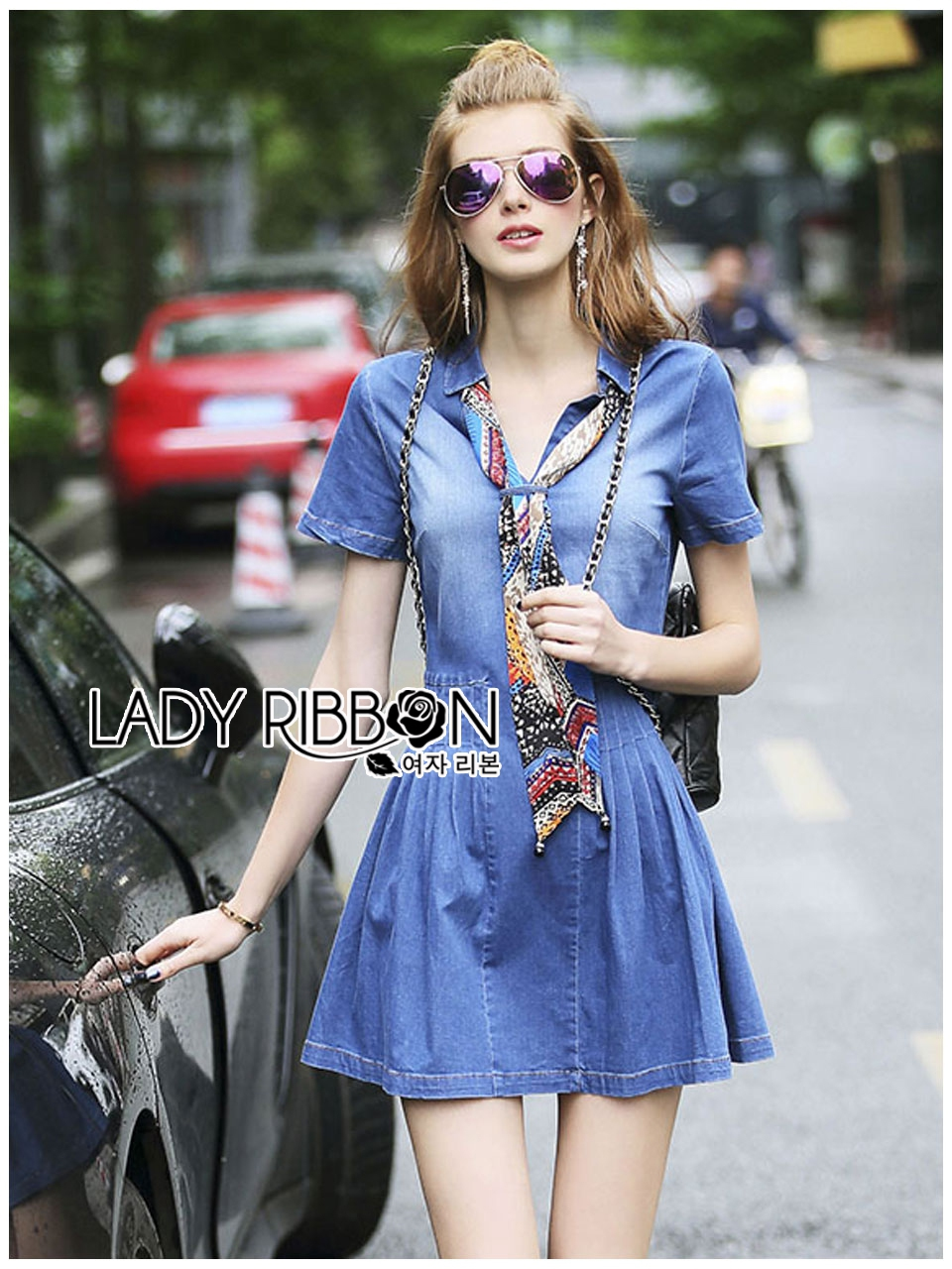 Lady Erin Casual Denim Shirt Dress with Printed Satin Scarf