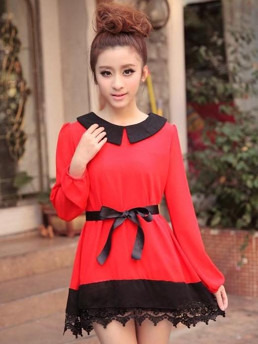 เสื้อแฟชั่น แขนยาว สีดำ รหัส 43936-แดง