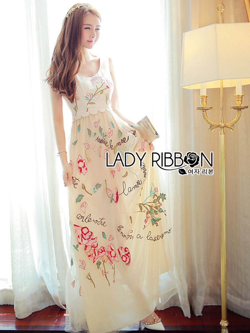 Lady Ribbon's Made Lady Alexandria Little Princess Silk and Embroidered Tulle Dress