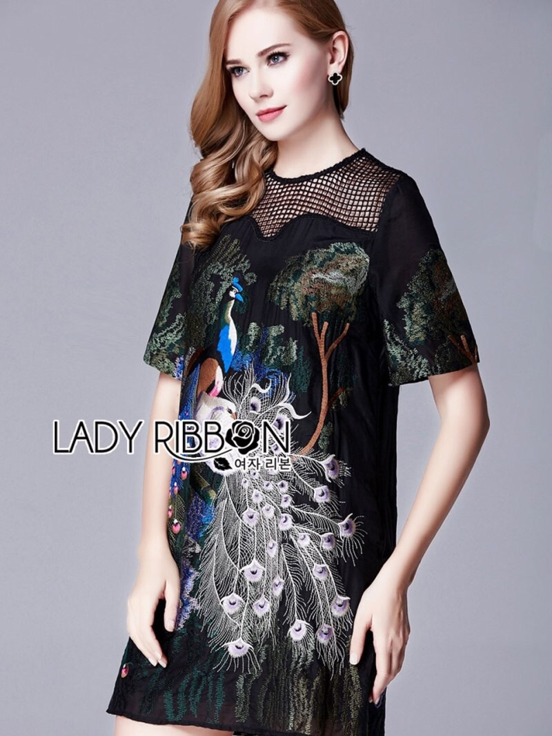 Lady Ribbon's Made Lady Alison Elegant Artful Peacock Embroidered Dress สีดำ