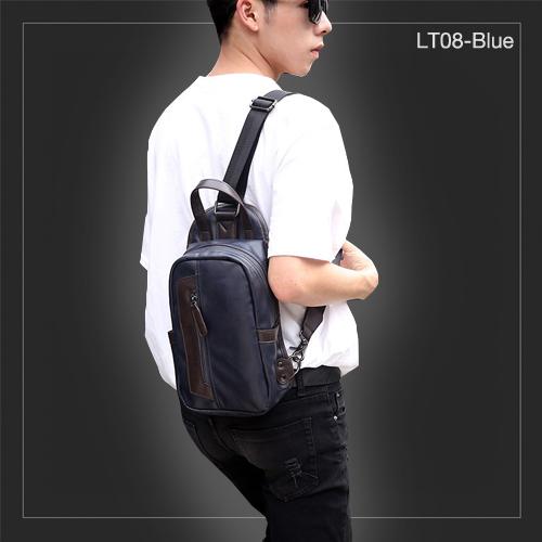 LT08-Blue กระเป๋าสะพายไหล่ กระเป๋าคาดอก หนัง PU สีน้ำเงิน