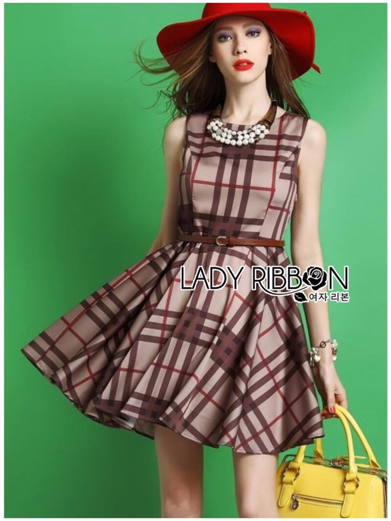 Lady Ribbon's Made Lady Cris British Elegant Check Printed Beige Dress สีเบจ