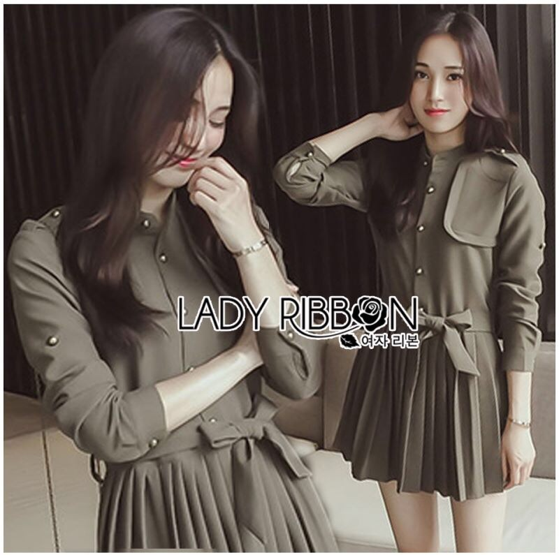 Lady Ribbon's Made Lady Eva Military Inspired Pleated Shirt Dress สีเขียวขี้ม้า