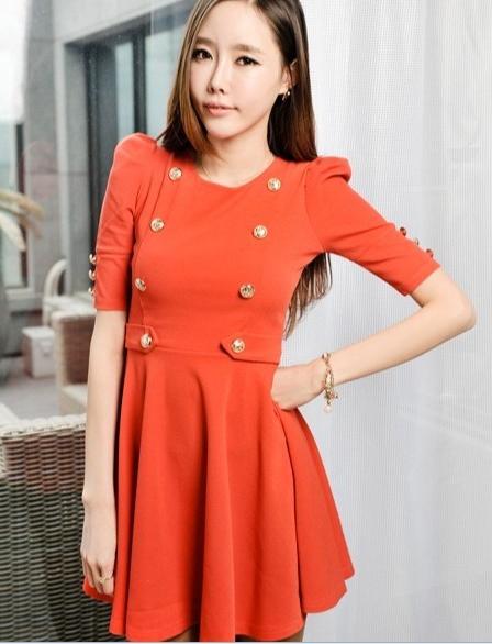 ชุดทำงานเกาหลี ชุดทำงานแฟชั่น ชุดทำงานน่ารัก ผ้าขนไก่ ประดับกระดุมสีทอง แขนสามส่วน กระโปรงบาน ชุดทำงานสีส้ม