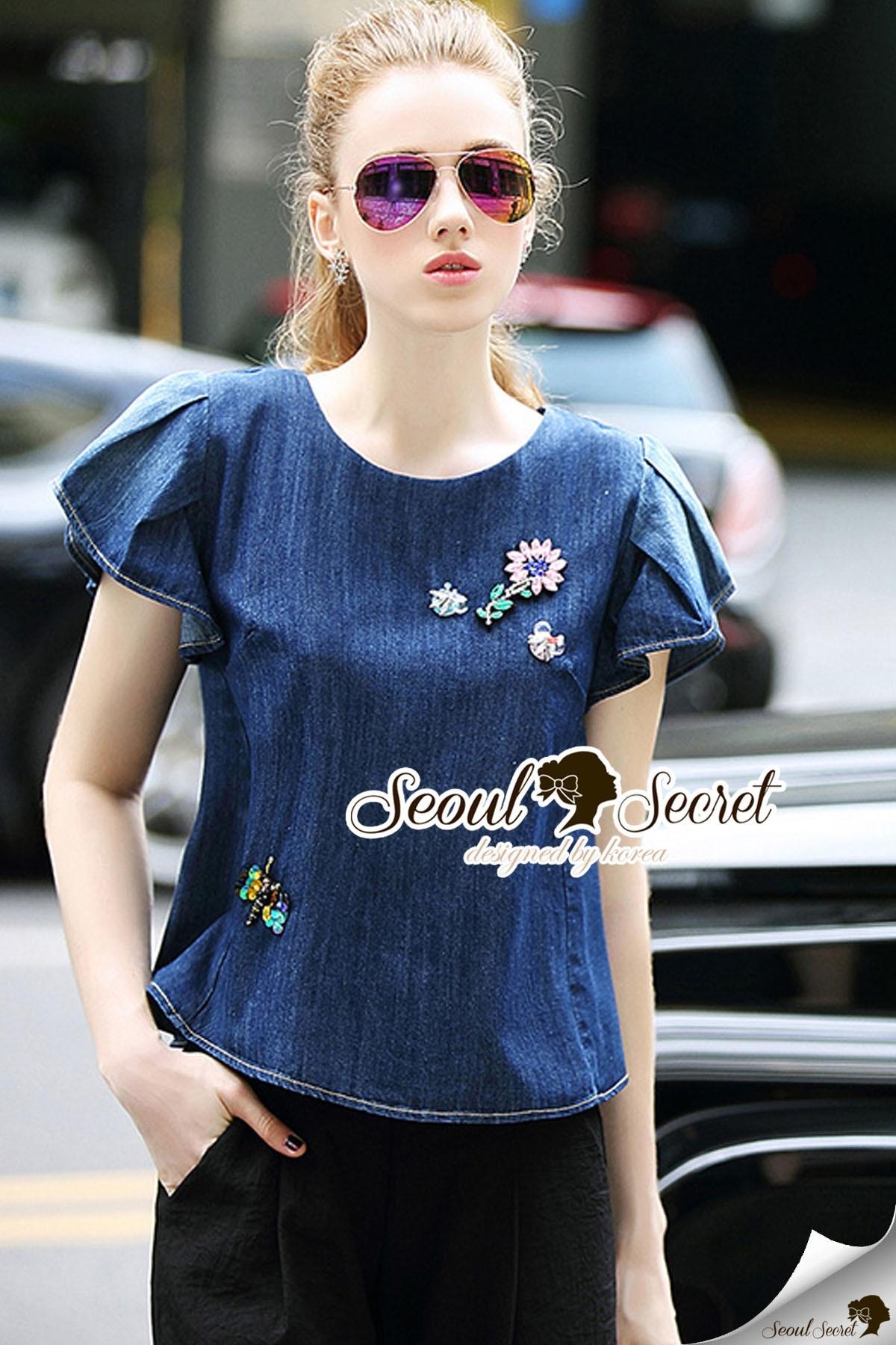 Seoul Secret Say's .... Blenchly Denim Blouse Flora Diamond Stick