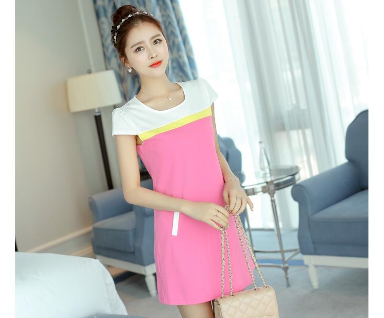 V-4-L0083-ชมพู ชุดเดรสทำงานสีชมพู แขนสั้น คอกลมเย็บสีขาว เอวเข้ารูป สวยน่ารัก