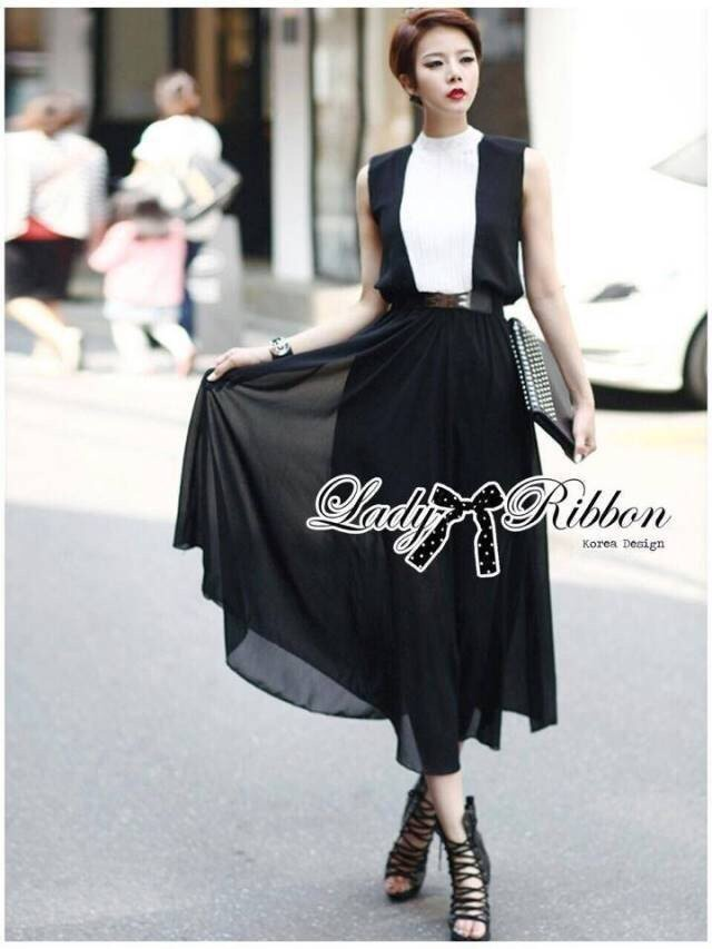 Lady Ribbon's Made Lady Keira Smart Elegant Monochrome Maxi Dress