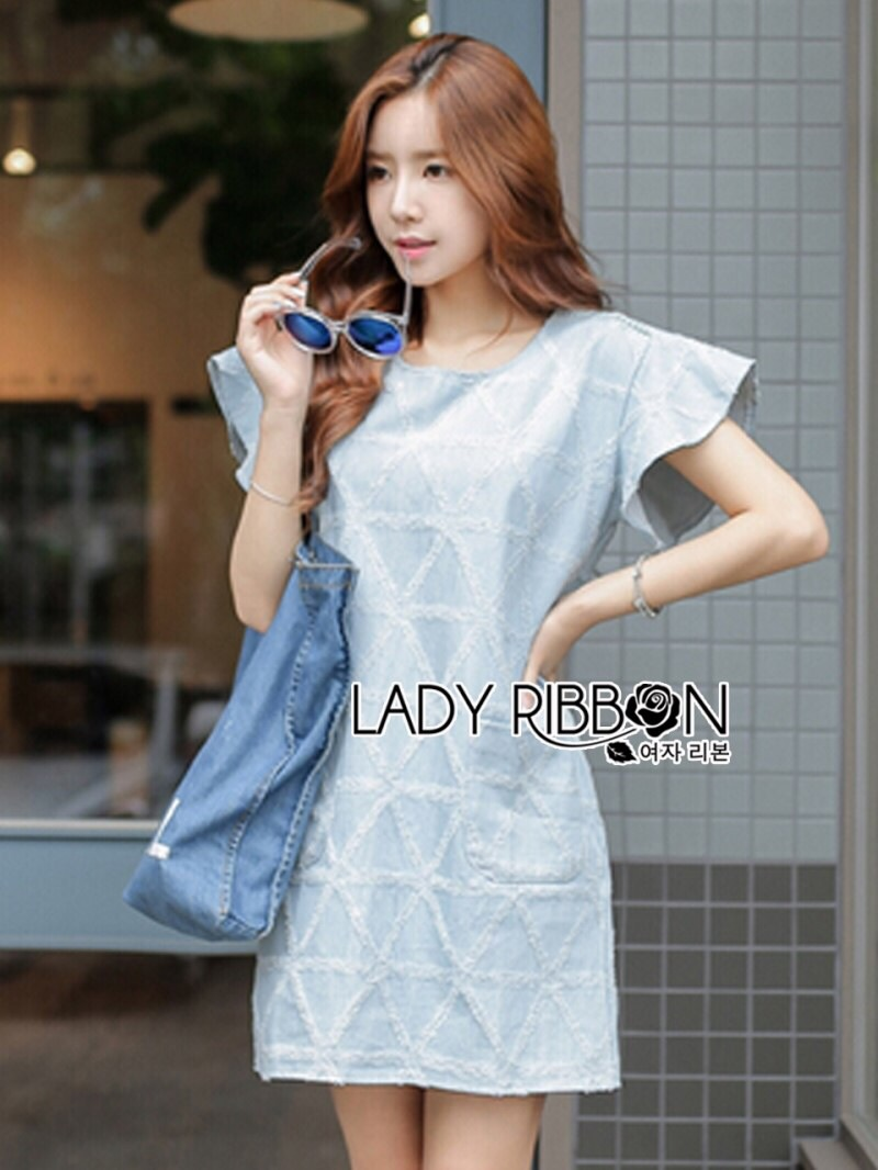 Lady Ribbon's Made Lady Jill Geometry Flared-Sleeved Brocade Denim Dress