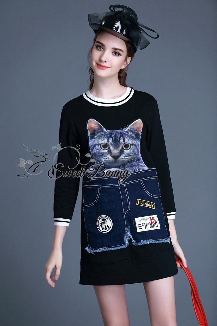 Cat print short Jean dress by Sweet bunny