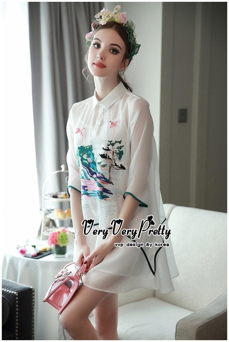 Luxurious White Silk Embroidered Shirt Dress