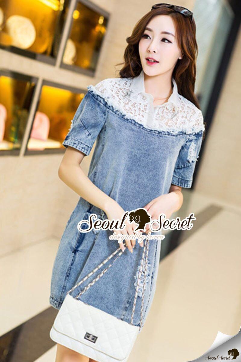 Seoul Secret Say's... Lacely Colar Denim Dress สีอ่อน